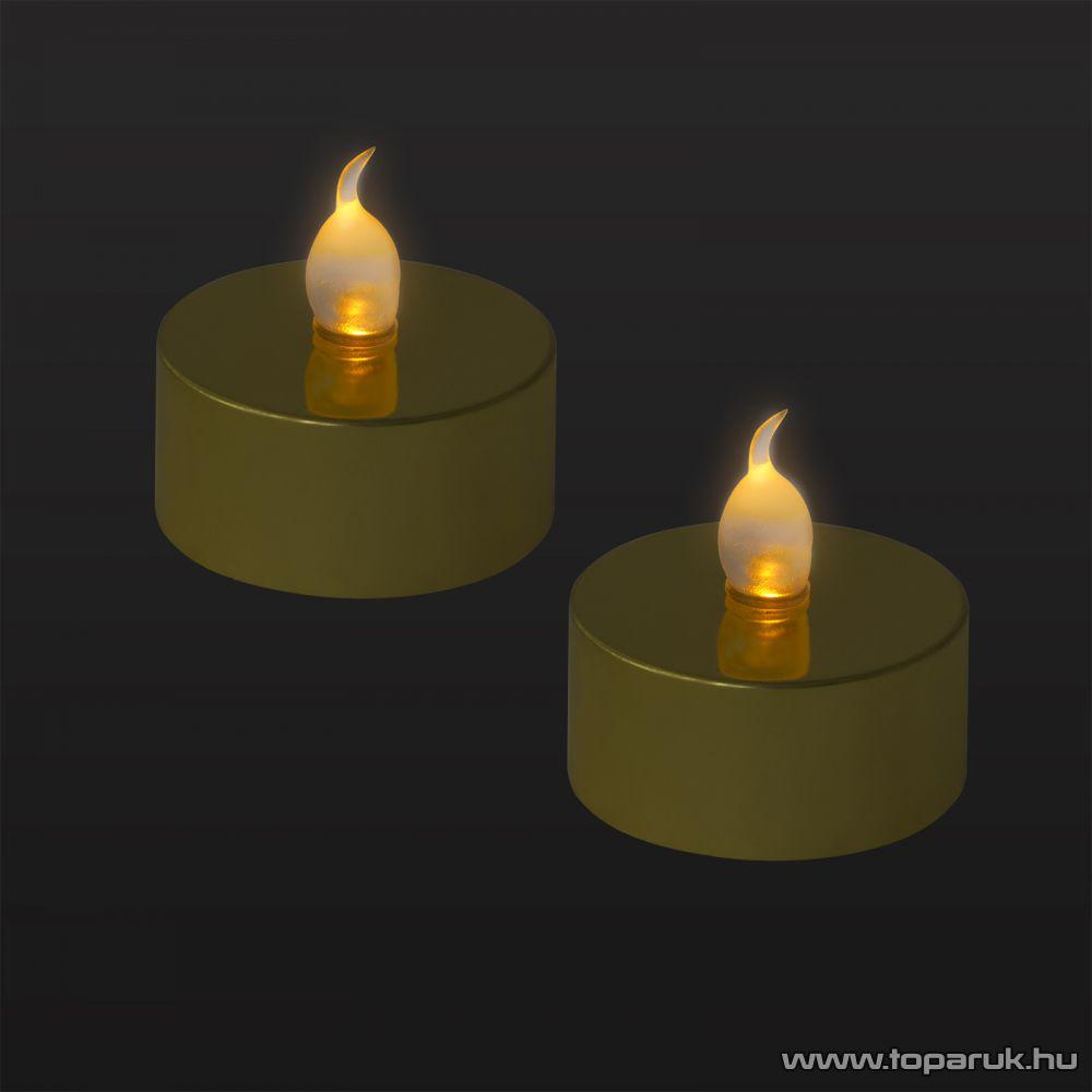 Beltéri elemes LED teamécses szett (2 db), pislákoló fényjáték, arany színű mécsesek (55245/GL)
