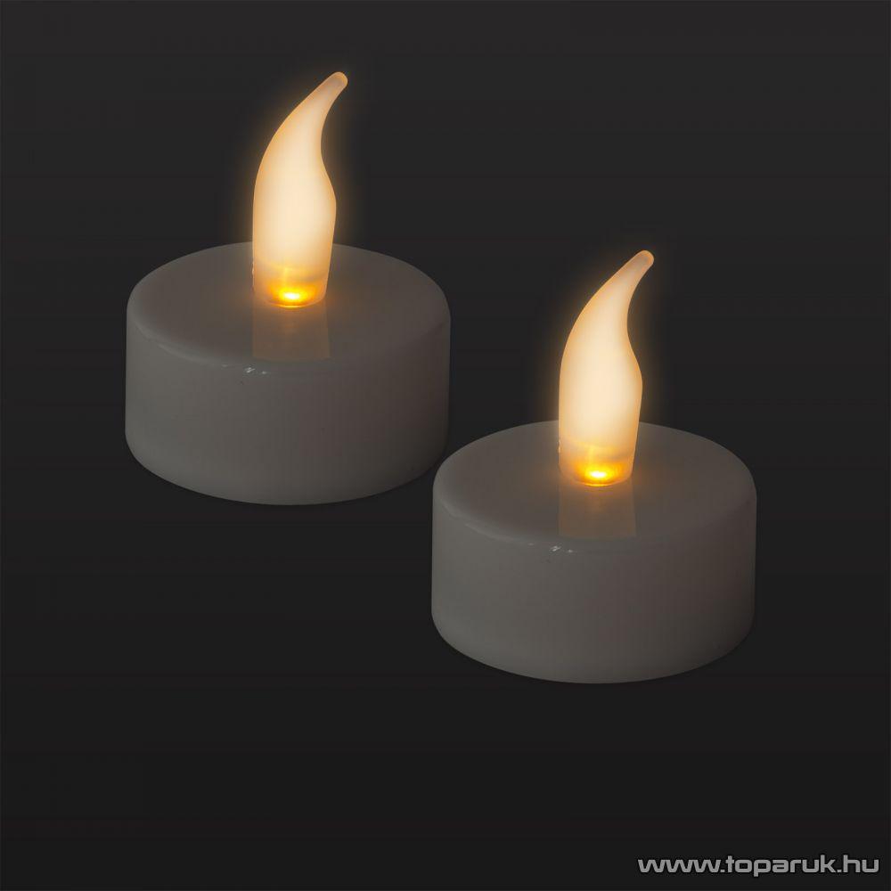 Beltéri elemes LED teamécses szett (2 db), pislákoló fényjáték, fehér színű mécsesek (55246)