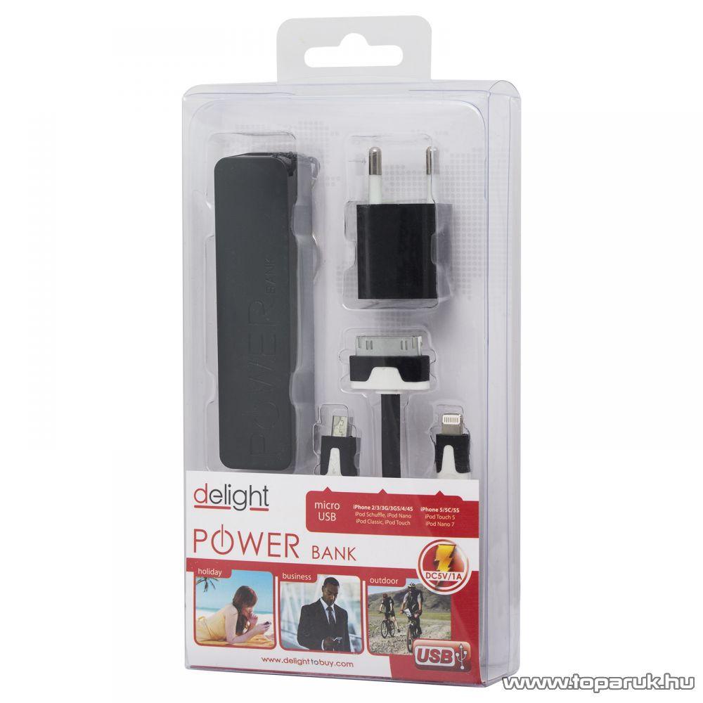 Delight Power bank hordozható, újratölthető, univerzális energiaforrás, univerzális külső akkumulátor, 1800 mAh, fekete (55380BK)
