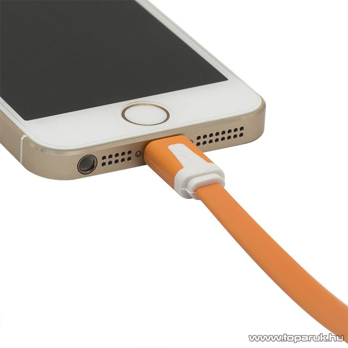 iPhone, iPod, iPad USB adat és töltőkábel, 1,2 m, narancs (55424OR) - megszűnt termék: 2015. január