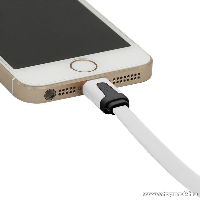 iPhone, iPod, iPad USB adat és töltőkábel, 1,2 m, fehér (55424WH) - megszűnt termék: 2015. január