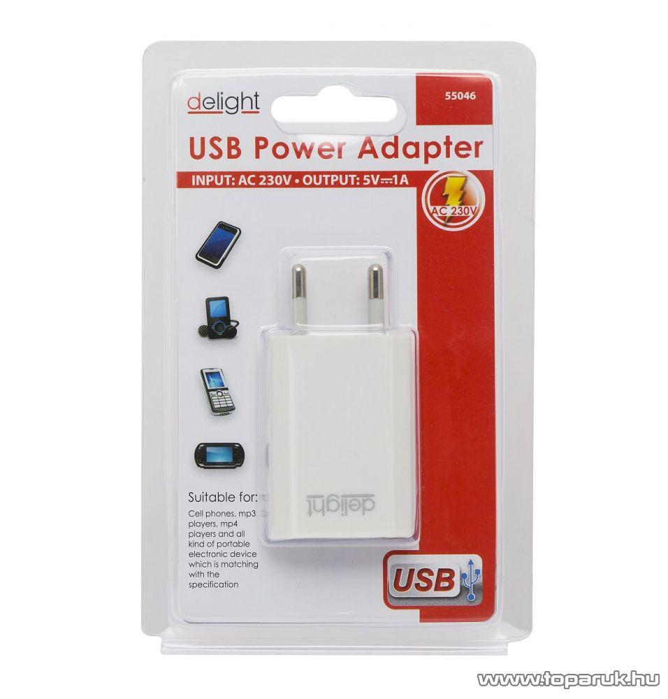 Delight 55046WH Univerzális USB hálózati töltő adapter, fehér