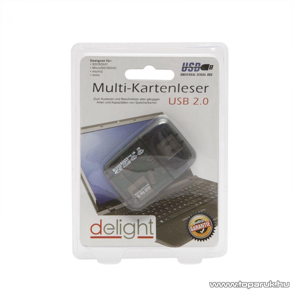 Delight 55447 USB 2.0 Kártyaolvasó, SD/SDHC, MicroSD/SDHC, MS/M2, MMC