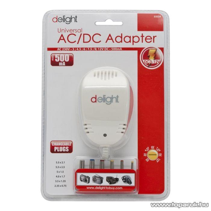 Delight Változtatható feszültségű hálózati adapter, 3V - 12V DC, 500mA (55034)