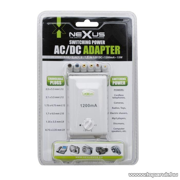neXus Kapcsolóüzemű adapter, változtatható feszültségű, 3V - 12V DC, 1200mA (55020)