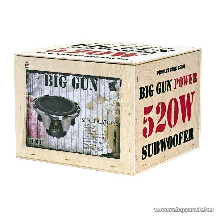 """MNC Big Gun Subwoofer 10""""/254 mm, 260/520 W-os, 4 ohm-os autós mélysugárzó (35301) - megszűnt termék: 2015. december"""
