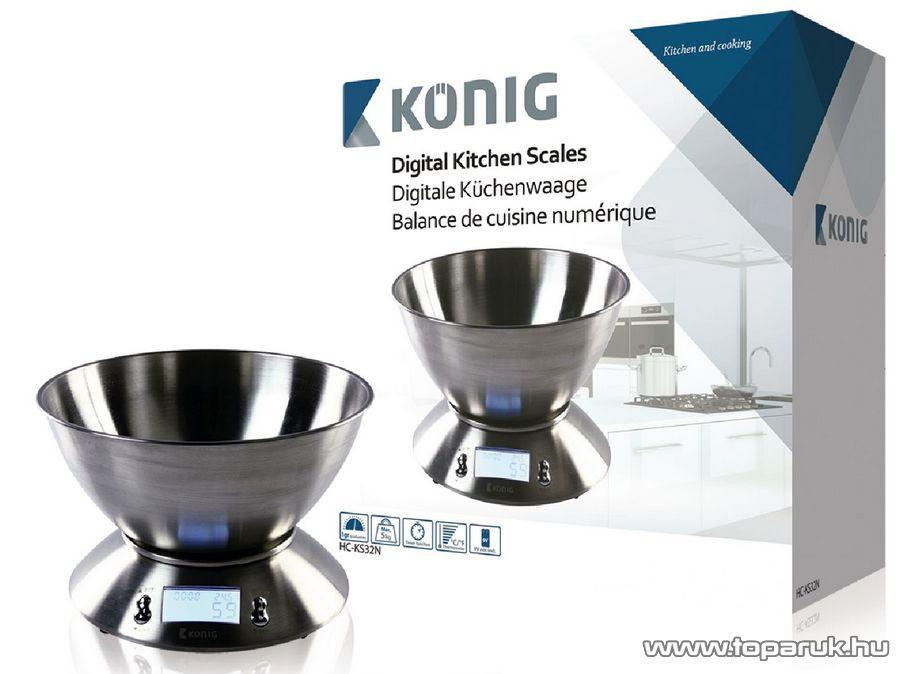 König HC-KS32N Digitális konyhai mérleg rozsdamentes acél tállal