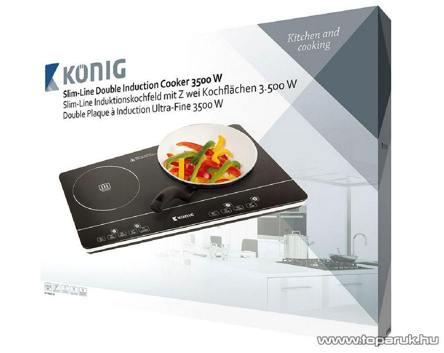 König KN-INDUC-30 2 zónás, két lapos vékony indukciós főzőlap érintő vezérléssel, 3500 W