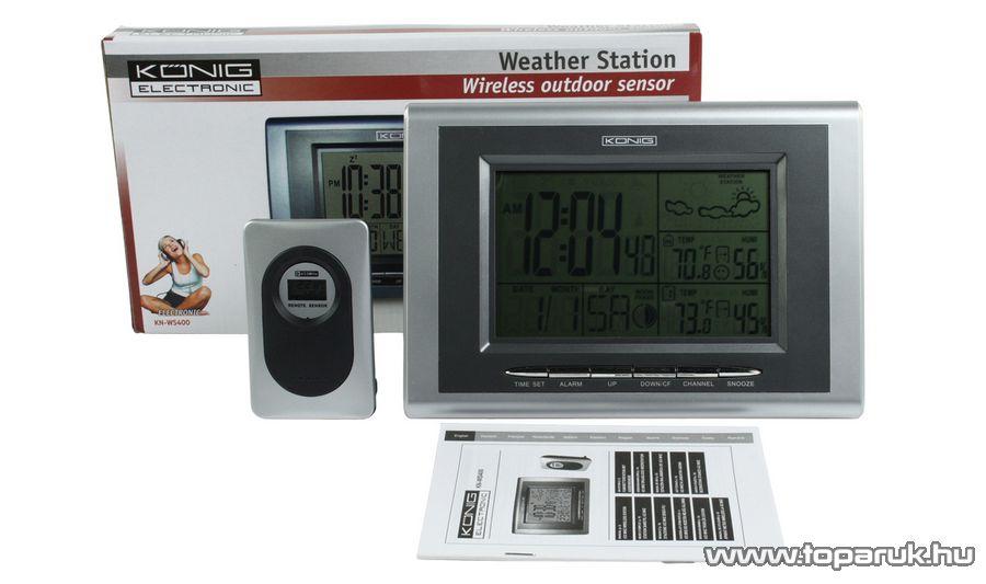 König KN-WS400 Asztali / fali vezeték nélkül 433 MHz RF időjárás állomás