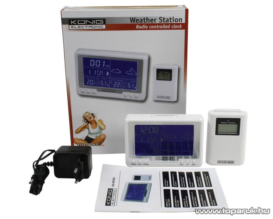 König KN-WS500 Asztali / fali vezeték nélkül 433 MHz RF időjárás állomás