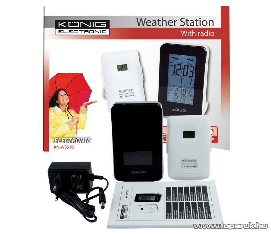 König KN-WS510 Asztali vezeték nélkül 433 MHz RF időjárás állomás