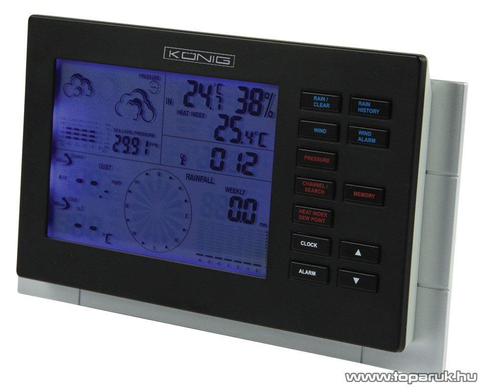 König KN-WS600 Professzionális DCF77 vezeték nélküli időjárás állomás szélmérővel, csapadékmérővel - Megszűnt termék: 2015. November