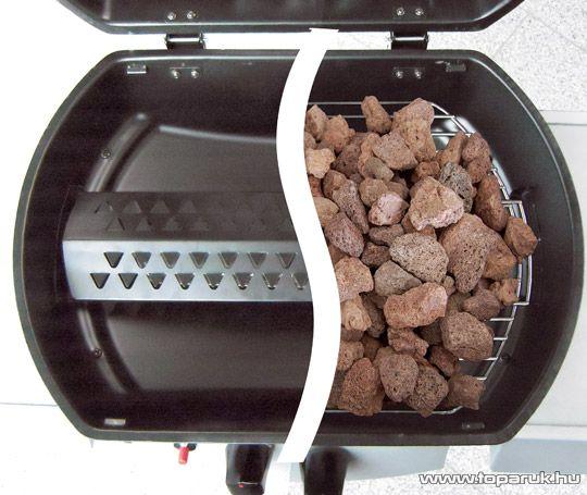 Landmann 12441 ATRACTO Lávaköves party gázgrill kocsi, szabadon állítható alumíniumozott acél égőfejjel, 7 kW (6 személyes)