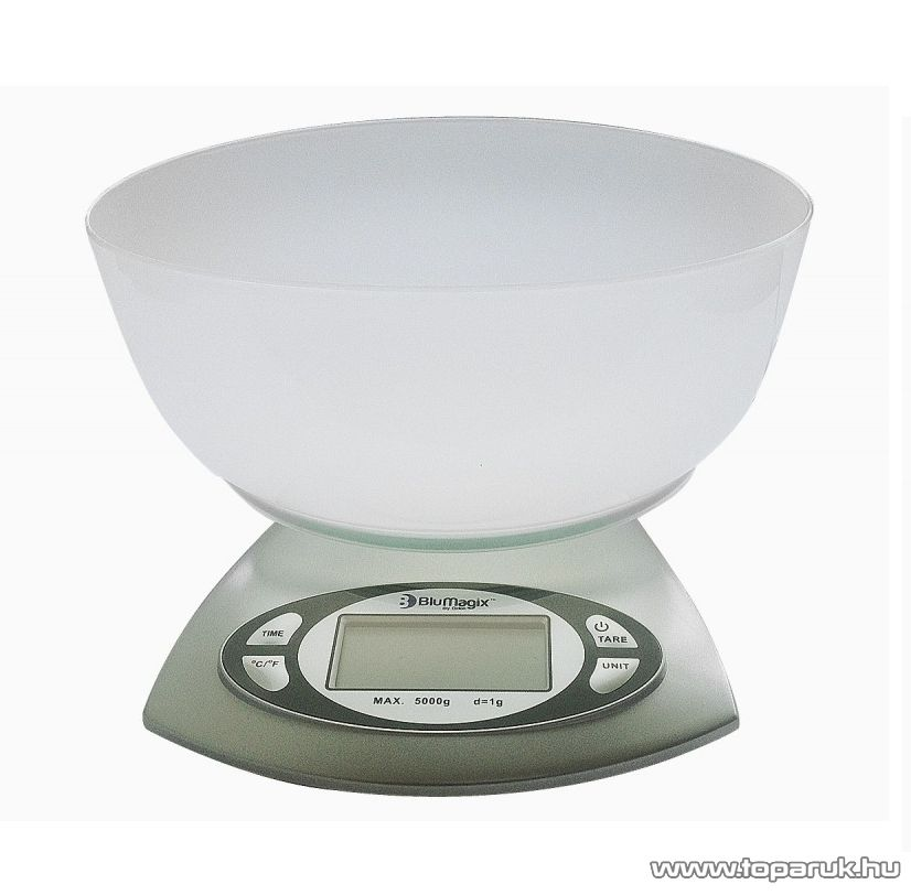 BluMagix BM-KSC615 Konyhai mérleg, műanyag tállal (max. 5 kg súlyig)