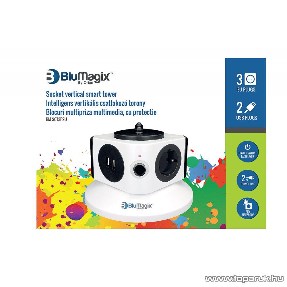 BluMagix BM-SOT3P2U Kapcsolós 3 db csatlakozós európai csatlakozó torony, 2 USB porttal