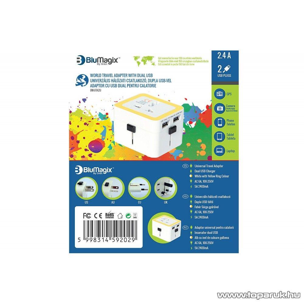 BluMagix BM-UTA2U Univerzális utazó hálózati adapter csatlakozó, dupla USB porttal