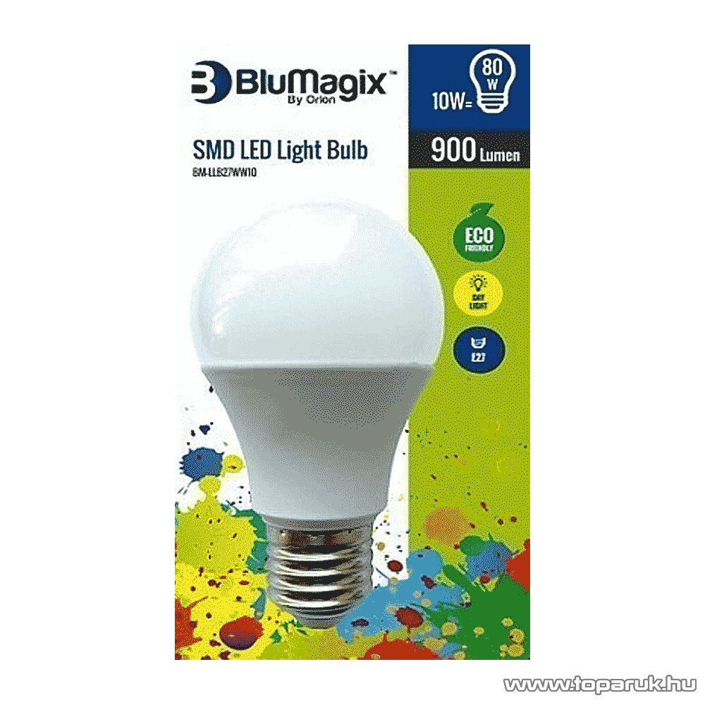 BluMagix BM-LLB27WW10 Energia takarékos SMD LED égő, 10W, E27 foglalat, meleg fehér
