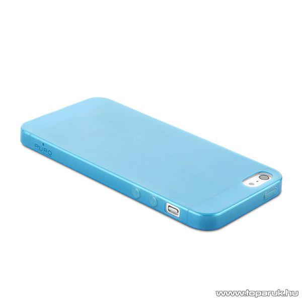 PURO iPhone 5 / 5s Ulatra Slim ultravékony okostelefon tok + képernyővédő fólia, 0.3mm, kék - megszűnt termék: 2015. április