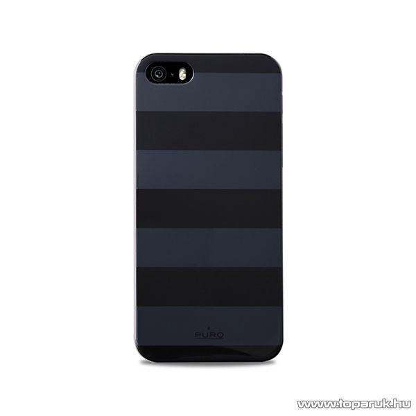 PURO iPhone SE / 5 / 5s okostelefon tok, csíkos, szürke-fekete