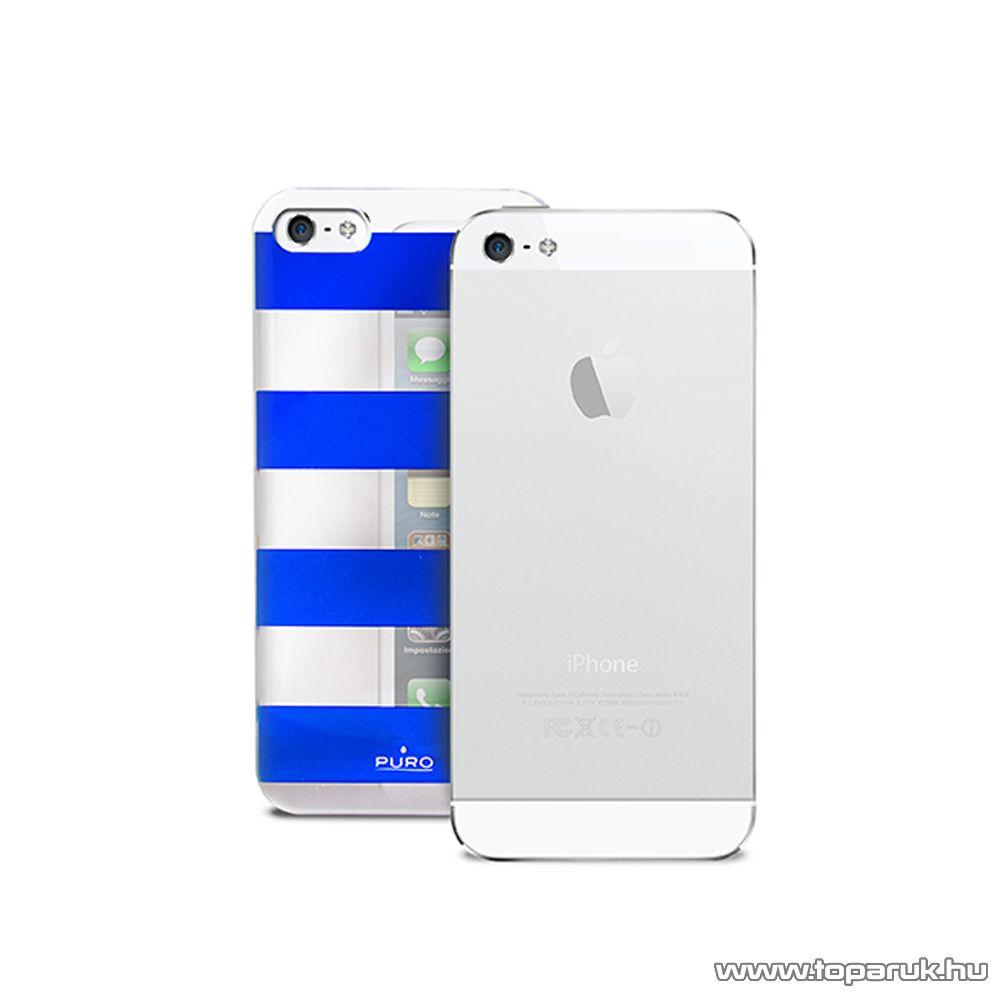 PURO iPhone SE / 5 / 5s okostelefon tok, csíkos, ezüst/kék