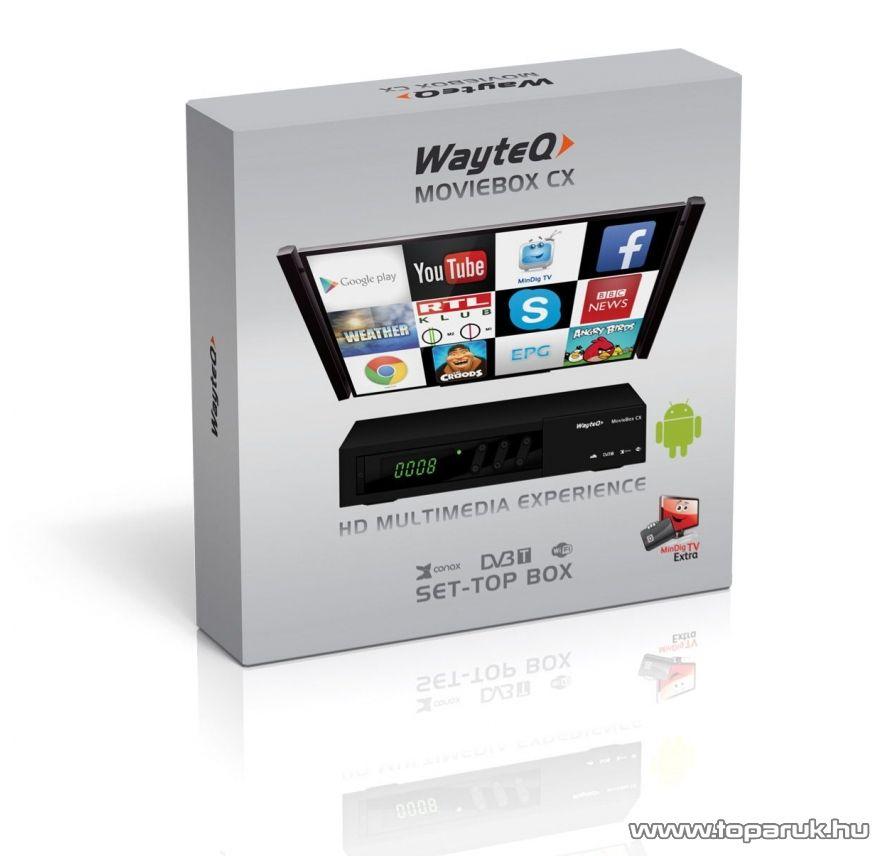 WayteQ MovieBox CX DVB-T Android Set Top Box + 12 hónap MindigTV EXTRA kártya - megszűnt termék: 2015. június