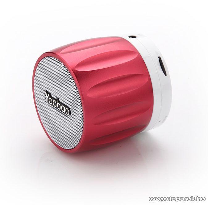 Yoobao YBL-202 Kis méretű, hordozható hangszóró, Bluetooth vezeték nélküli hangszóró, kihangosító, 2,3W, vörös - megszűnt termék: 2016. szeptember