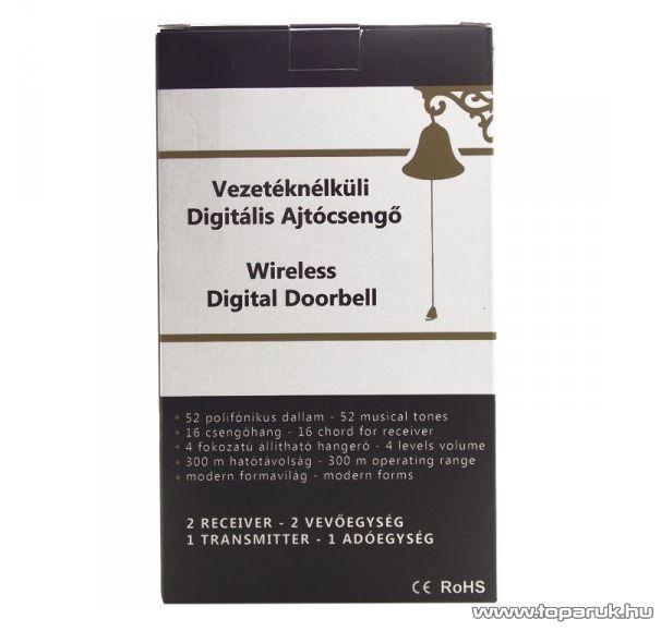 Door Vezeték nélküli digitális csengő szett 2 db beltéri egységgel, 300 m hatótávolsággal, 52 dallammal, 230V