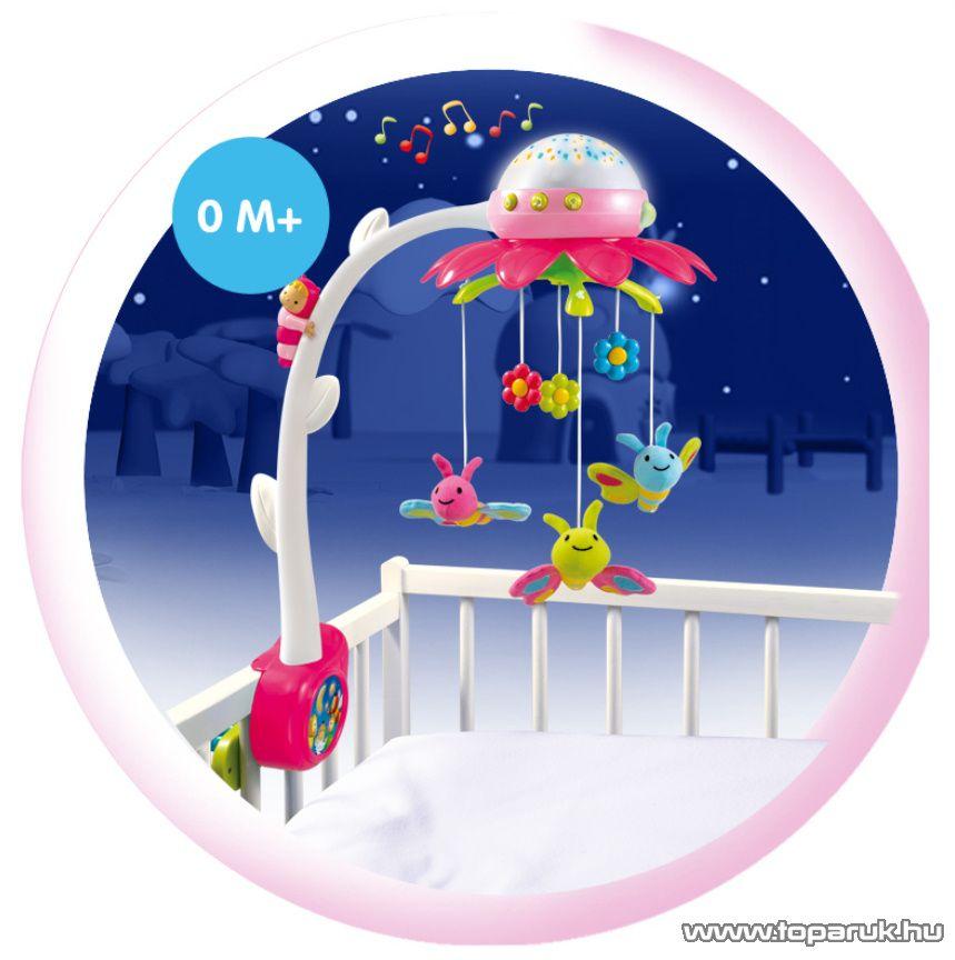 Smoby Cotoons Projektoros világító körforgó kiságyra távirányítóval, 2 féle szín! (7600211374) - készlethiány