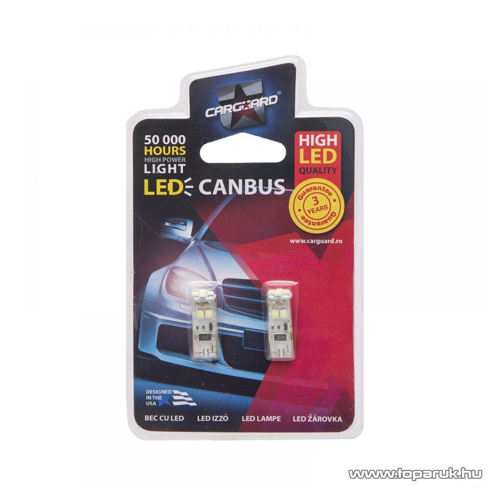 Carguard 8 SMD LED-es T10 izzó rendszám vagy belső tér világítás, fehér, 2 db / csomag (50954)