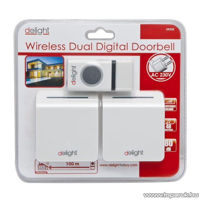 delight Vezetéknélküli digitális csengő szett 0-100m, 230V, 0.2A (55332)