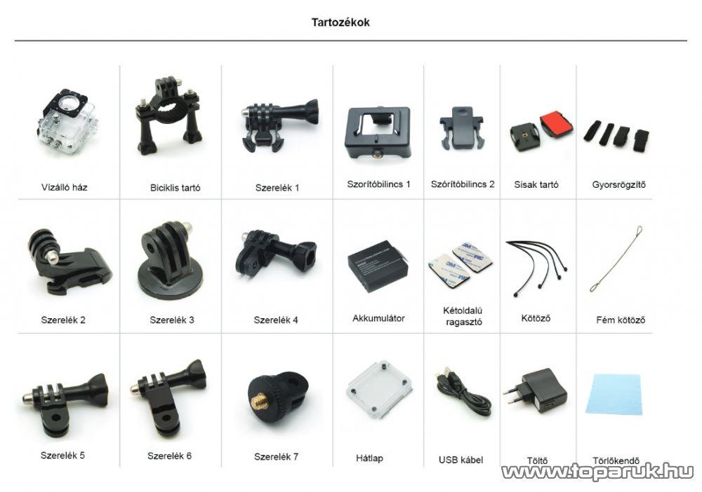 ConCorde SportCam X8 wifi sportkamera (HD kalandkamera) vízálló házzal, ezüst