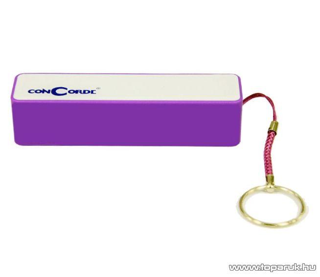 ConCorde Power Bank univerzális külső akkumulátor, lila, 2600 mAh - megszűnt termék: 2016. február