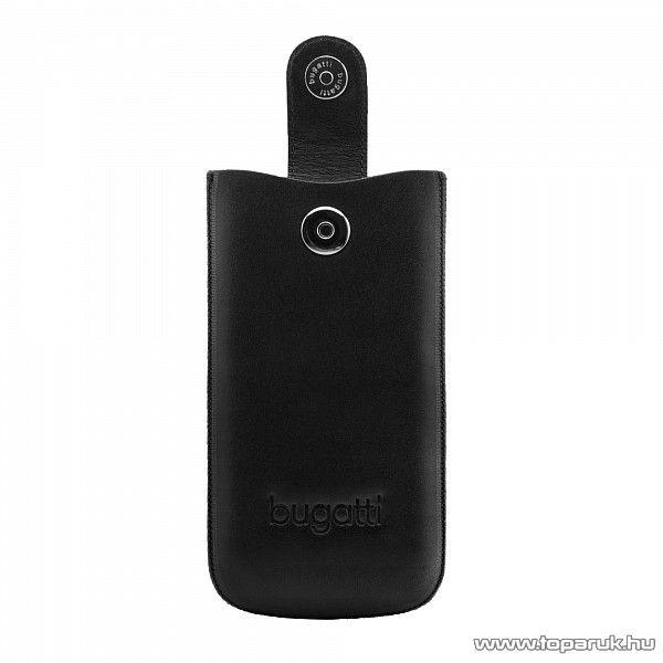 Bugatti SlimCase Leather S fekete színű álló bőrmobiltelefon tok, 6,3cm x 11,4cm (007311)