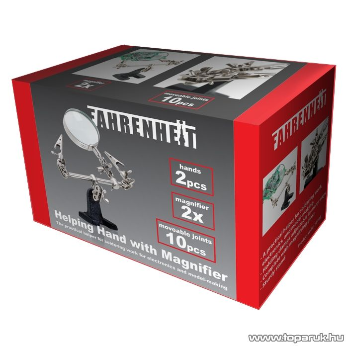 Fahrenheit Paneltartó nagyítóval és krokodilcsipeszekkel, 2x nagyítás (10102)