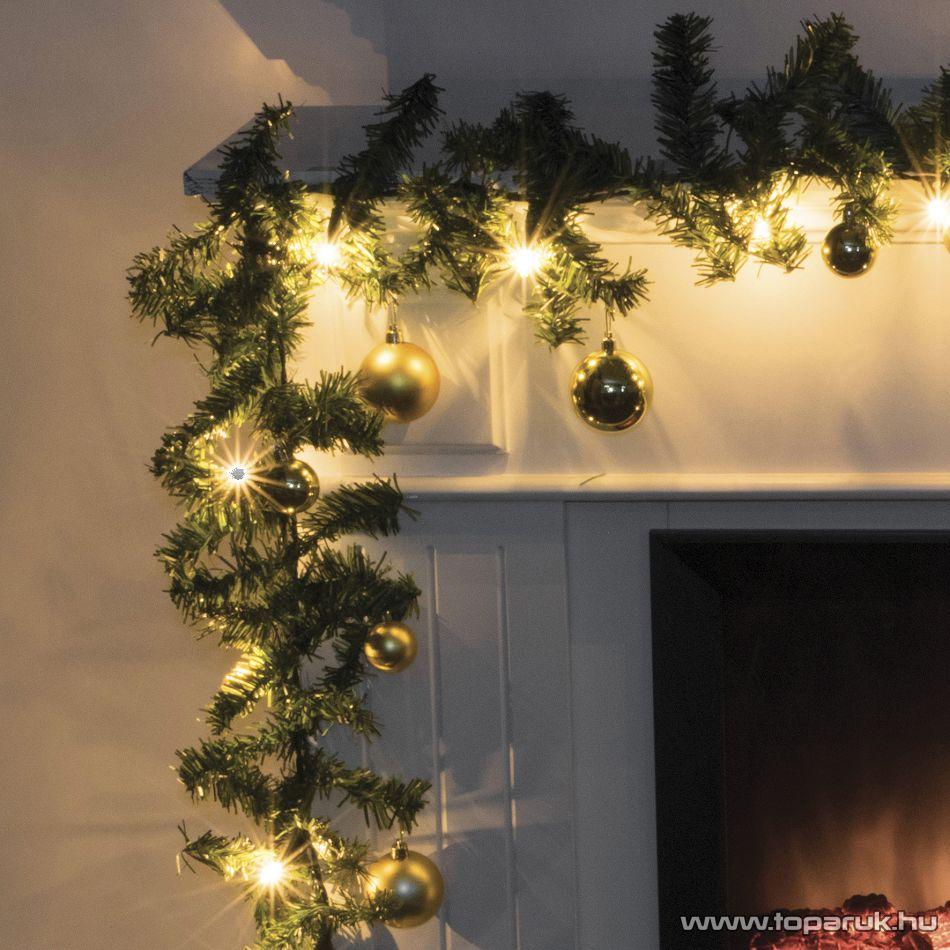 ARTI CASA EDC 5102/GL Beltéri zöld fenyő girland, dús, meleg fehér fényű világítással, arany színű gömb dísszel, 270 cm, 180 ág