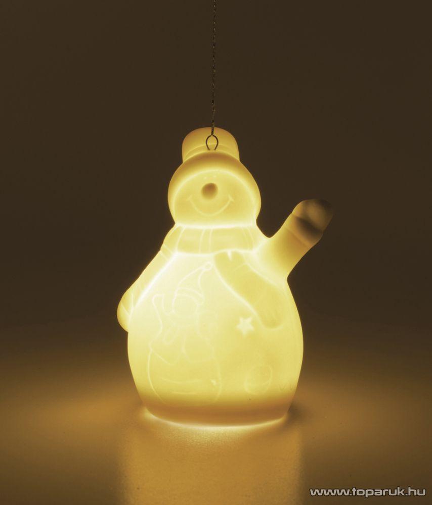 ARTI CASA EDC 9854 Karácsonyi fehér porcelán figura függő dísz szett, meleg fehér LED világítással