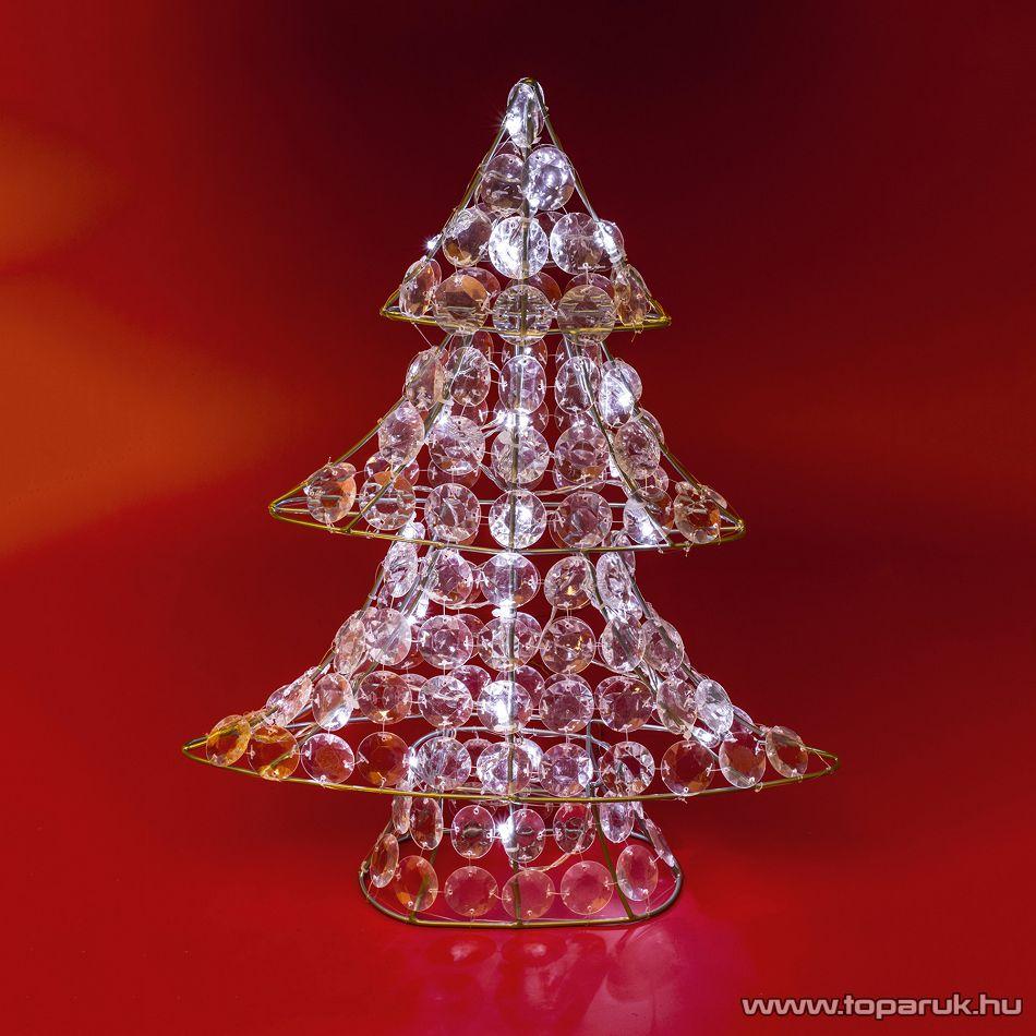 HOME KID 707 Beltéri LED-es akril Karácsonyfa dekoráció (asztaldísz), 30 db hideg fehér fényű leddel