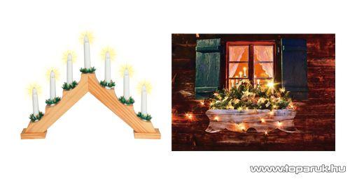 HOME KAD 01 Gyertyapiramis, lakkozott fa, 7 db csavaros izzóval, meleg fehér fényű világítással