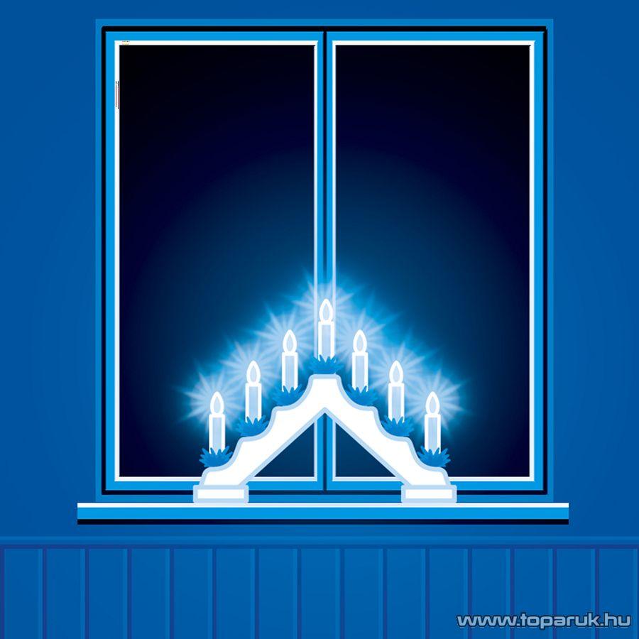 HOME KAD 03 Gyertyapiramis, fehér festett fa, 7 db csavaros izzóval, meleg fehér fényű világítással