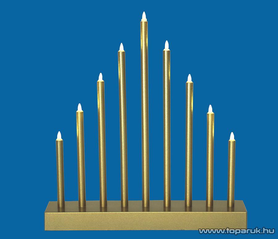 HOME KAD 09/GD Beltéri LED-es gyertyapiramis időzítővel, 9 db melegfehér állófényű LED, arany színű