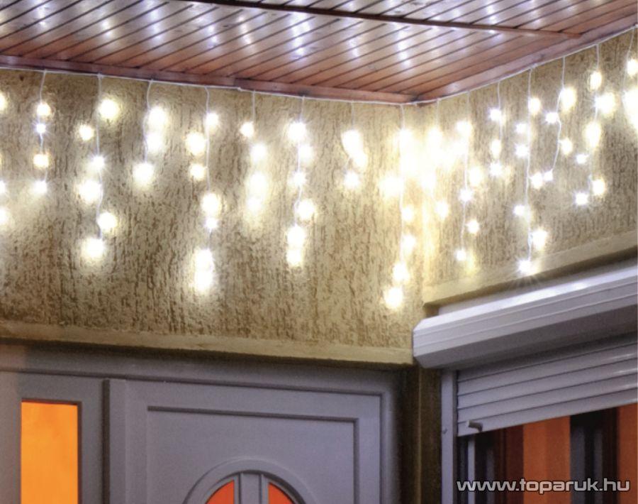 HOME KAF 200L 10M Kültéri LED-es fényfüggöny, 200 db hideg fehér színű LED-del, 8 programos, memóriás, 1000 cm széles