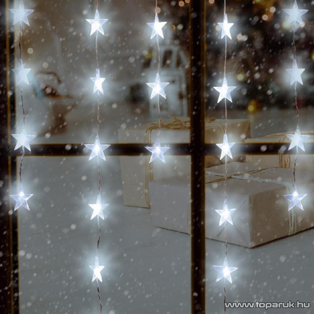 HOME KAF 50L beltéri LED-es fényfüggöny, 50 db hidegfehéren világító csillag dekorációval, 135 cm széles
