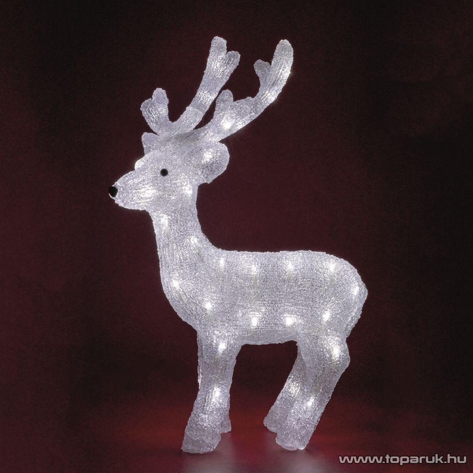 HOME KDA 3 Kültéri LED-es akril rénszarvas dekoráció, 50 db hideg fehér fénnyel világító leddel