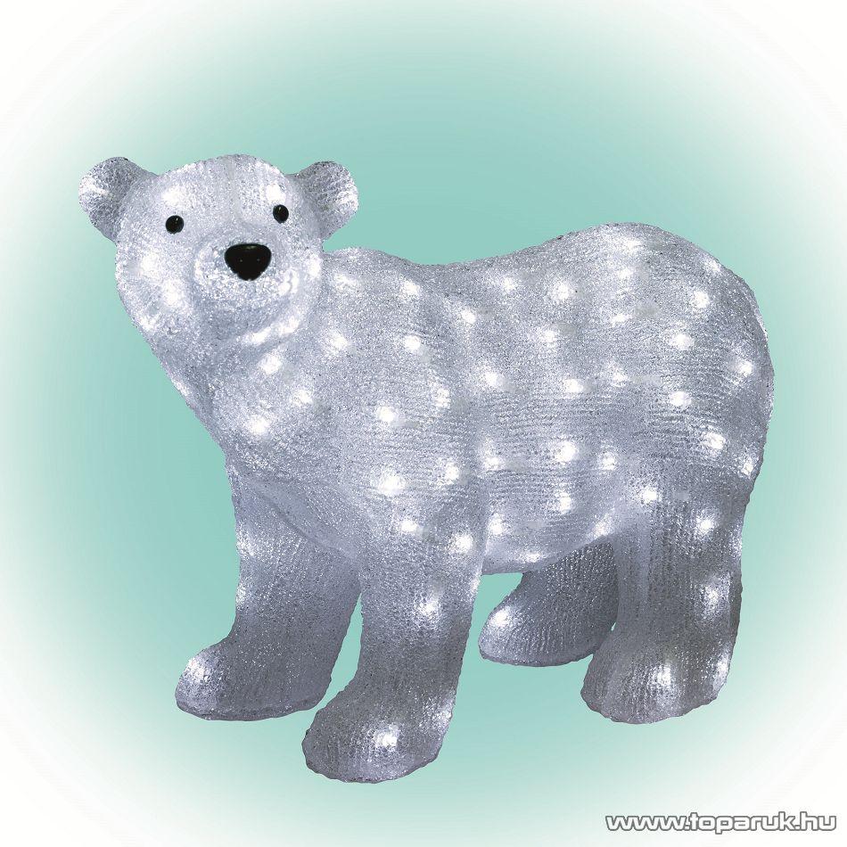 HOME KDA 6 Kültéri LED-es akril jegesmedve dekoráció, 120 db hideg fehér fénnyel világító leddel - készlethiány