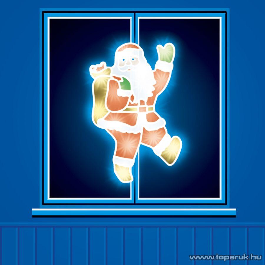 HOME KID 205 Mikulás ablakdísz, színes sziluett, 20 db meleg fehér fényű hagyományos izzóval