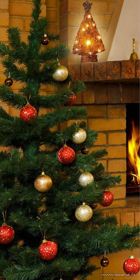 HOME KID 40/R rattan anyagú, természetes kivitelű fenyőfa dísz, 40 cm