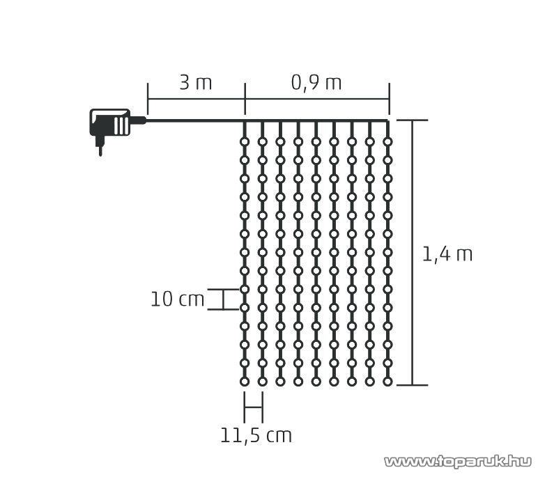 HOME KIN 126/WH Beltéri LED-es fényfüggöny, 126 db hideg fehér színű LED-del, 90 x 140 cm