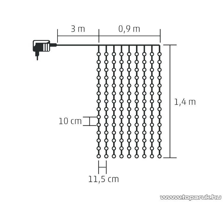 HOME KIN 168/WH Beltéri LED-es fényfüggöny, 168 db hideg fehér színű LED-del, 120 x 140 cm
