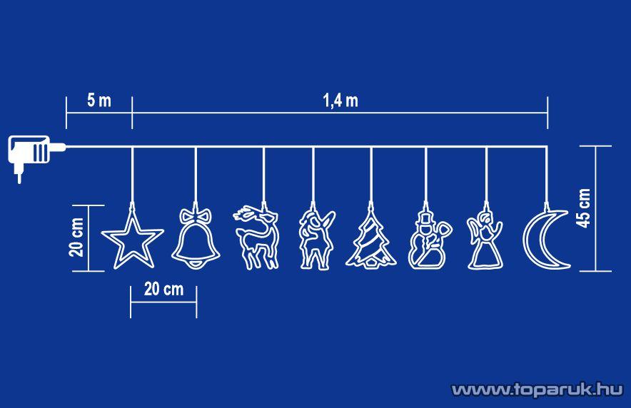 HOME KLF 8/15L Kültéri LED-es figurás fényfüzér, 8 féle figurával, 120 db hidegfehér LED-del, 1,4 m hosszú