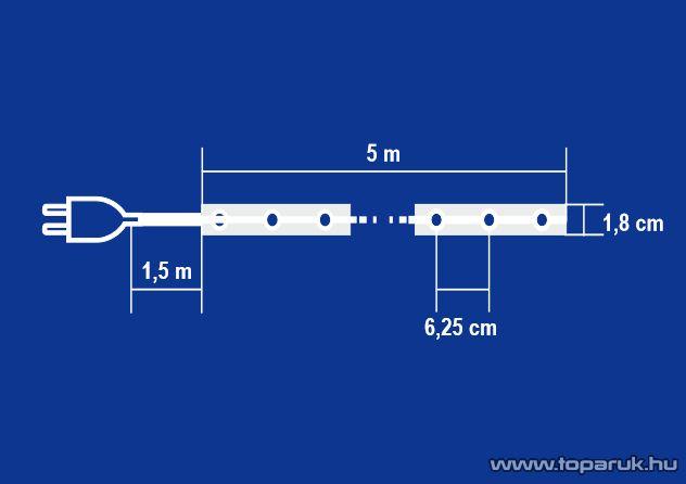 HOME KNT 80/SL Álló fényű világító cső (izzósor), 5 m hosszú, ezüst színű műanyag hálóban - készlethiány